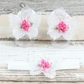 3 PCS Flower Headband Baby Barefoot Sandals Foot Accessories Hair Accessory(White Large Flowers)