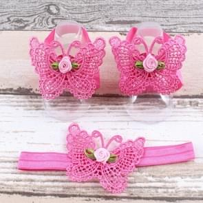 3 PCS Flower Headband Baby Barefoot Sandals Foot Accessories Hair Accessory(Small Flower Rose)