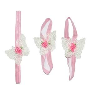 3 PCS Flower Headband Baby Barefoot Sandals Foot Accessories Hair Accessory(Large Flowers White Butterflies)