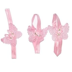 3 PCS Flower Headband Baby Barefoot Sandals Foot Accessories Hair Accessory(Small Flowers Pink Butterflies)