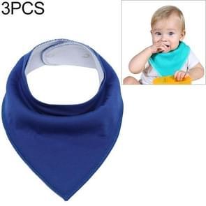3 PCS Reusable Washable Cotton Baby Bibs Burp Cloth Adjustable Baby Meal Bibs(Dark Blue)