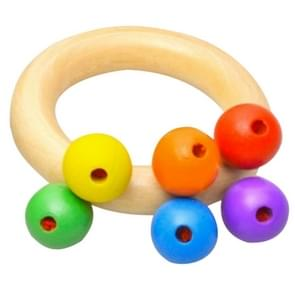 Baby Wooden Rattle Bell Toys Infant Handbell Rattles Kids Musical Instrument Educational Toy Funny Newborns Handle Bells Toys(Ring type)