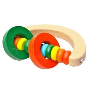 Baby houten rammelaar Bell speelgoed zuigeling Handbell rammel kinderen muziek instrument educatieve Toy Funny pasgeborenen handvat klokken speelgoed (hand type)