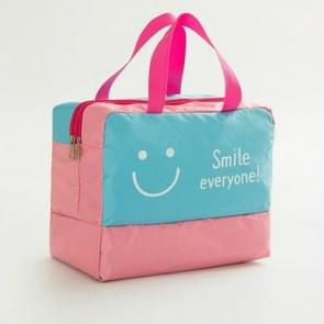 Fashion Men And Women Travel Waterproof Storage Bag Oxford Cloth Travel Bag Swimming Bag Beach Bag(Blue Smiley Face)