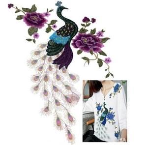 Peacock Peony Flower Embroidery Cloth Apparel Accessories Net Yarn Collar, Size:55 x 41.5cm(Purple)