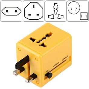World-Wide Universal Travel Concealable Plugs Adapter with & Built-in Dual USB Ports Charger for US, UK, AU, EU(Yellow)