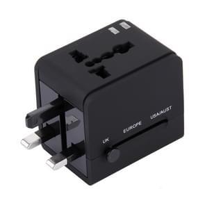 5V 2.1A Dual USB Power Socket Charger Adapter, UK / EU / US / AU Plug(Black)