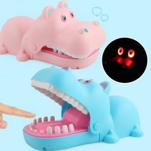 Cartoon Creatieve Hippo Vorm Hap hand nieuwigheid lastig speelgoed met licht en muziek  willekeurige kleur levering