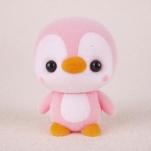 Little Cute PVC Flocking Animal Penguin Dolls Birthday Gift Kids Toy, Size: 4*4*5.5cm(Pink)