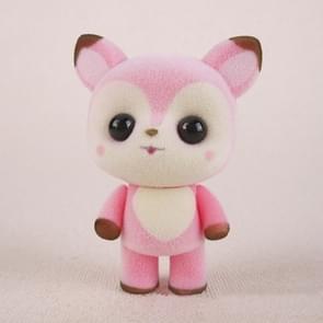 Little Cute PVC Flocking Animal Deer Dolls Birthday Gift Kids Toy, Size: 5*3.5*7cm(Pink)