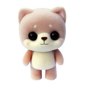 Little Cute PVC Flocking Animal Dog Shiba Inu Dolls Creative Gift Kids Toy, Size: 4.5*3.5*6cm (Light Brown)