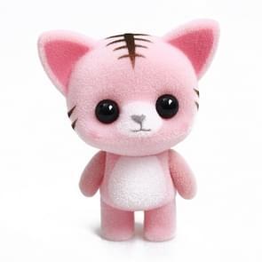 Little Cute PVC Flocking Animal Cat Dolls Creative Gift Kids Toy, Size: 5.5*3.5*6.5cm(Pink)