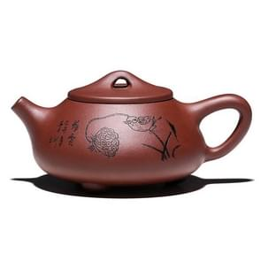 Lotus Scent Boat Stone Scoop Pattern Handmade Yixing Clay Teapot Tea Boiler, Capacity:280ml