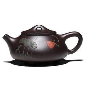 Lotus Stone Scoop Pattern Black King Kong Yixing Clay Teapot Tea Boiler, Capacity:240ml