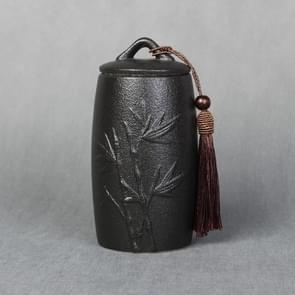 Bamboo Pattern Stoneware Tea Cans Storage Tanks Ceramic Tea Set Tea Ceremony Accessories(Black)