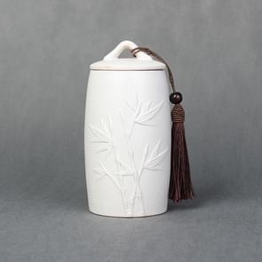 Bamboo Pattern Stoneware Tea Cans Storage Tanks Ceramic Tea Set Tea Ceremony Accessories(White)