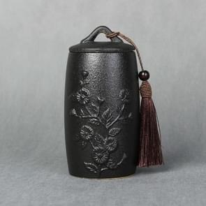 Chrysanthemum Pattern Stoneware Tea Cans Storage Tanks Ceramic Tea Set Tea Ceremony Accessories(Black)