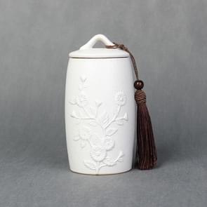 Chrysanthemum Pattern Stoneware Tea Cans Storage Tanks Ceramic Tea Set Tea Ceremony Accessories(White)