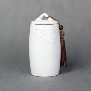 Loose Peak Pattern Stoneware Tea Cans Storage Tanks Ceramic Tea Set Tea Ceremony Accessories(White)