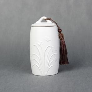 Orchid Pattern Stoneware Tea Cans Storage Tanks Ceramic Tea Set Tea Ceremony Accessories(White)