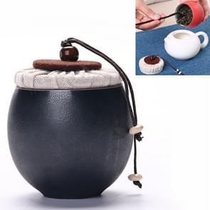 Ceramic Mini Tea Pot Storage Moisture-proof Can Sealed Tea Tank, Single Package (Black)