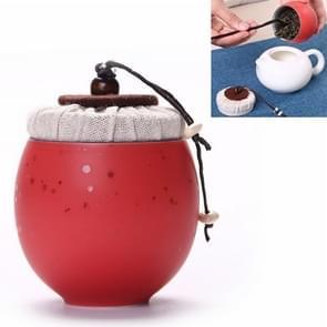 Ceramic Mini Tea Pot Storage Moisture-proof Can Sealed Tea Tank, Single Package (Red)