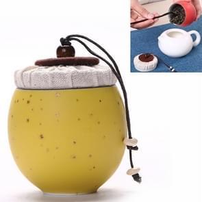 Ceramic Mini Tea Pot Storage Moisture-proof Can Sealed Tea Tank, Single Package (Yellow)