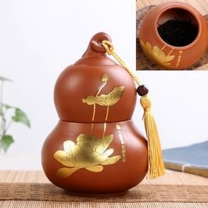 Redware Gourd Shape Mini Tea Pot Storage Moisture-proof Can Sealed Tea Tank(Black)