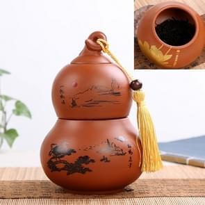 Redware Gourd Shape Mini Tea Pot Storage Moisture-proof Can Sealed Tea Tank(Coffee)