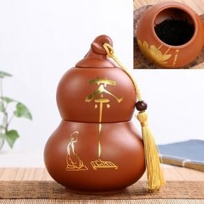 Redware Gourd Shape Mini Tea Pot Storage Moisture-proof Can Sealed Tea Tank(Dark Blue)