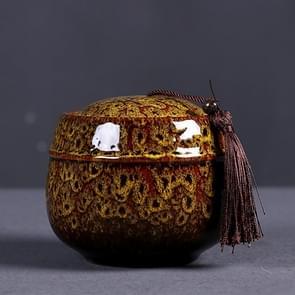 Kiln Transmutation Ceramic Mini Tea Pot Storage Moisture-proof Can Sealed Tea Tank (Yellow)