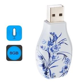 De blauwe en witte porseleinen bloemen patroon draagbare Audio Voice Recorder USB Drive  8GB  afspelen van de muziek van de steun
