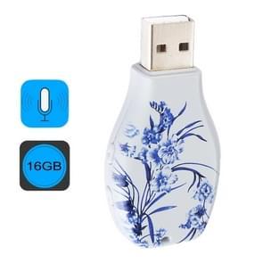 De blauwe en witte porseleinen bloemen patroon draagbare Audio Voice Recorder USB Drive  16GB  afspelen van de muziek van de steun