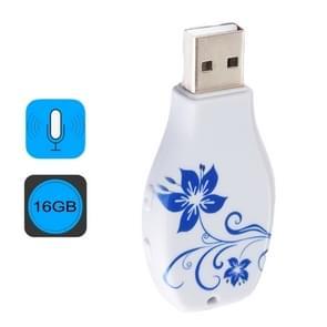 Eenvoudige blauw en wit porselein patroon draagbare Audio Voice Recorder USB Drive  16GB  ondersteuning muziek afspelen