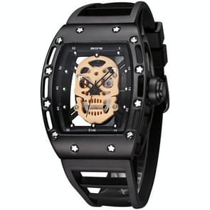 SKONE 3987 Luminous Hollow Skeleton Dial Men Quartz Watch with Silicon Band (Black + Rose Gold)