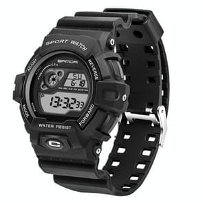 SANDA 5302 LED Backlight Display & Stopwatch & Alarm & Calendar Function Men Outdoor Sport Digital Watch with Silicon Band(Black)