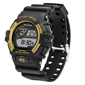 SANDA 5302 LED Backlight Display & Stopwatch & Alarm & Calendar Function Men Outdoor Sport Digital Watch with Silicon Band(Gold)