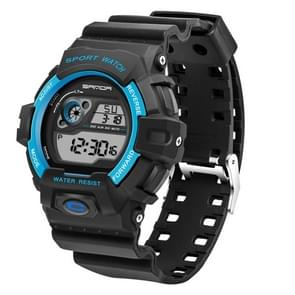 SANDA 5302 LED Backlight Display & Stopwatch & Alarm & Calendar Function Men Outdoor Sport Digital Watch with Silicon Band(Blue)
