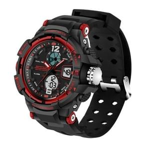 SANDA 5319 LED Backlight Display & Stopwatch & Alarm & Date and Week Function Men Quartz + Digital Dual Movement Watch with Silicon Band(Red)