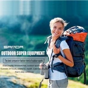 SANDA 5301 lichtgevende & stap & Alarm & Subdials 24 uur & datum & Week & maand weergeven functie mannen kwarts + digitale dubbele beweging horloge met PU kunststof Band(Black)