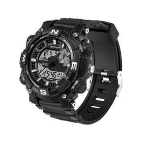 SANDA 5320 LED Luminous Display & Stopwatch & Alarm & Date and Week Function Men Quartz + Digital Dual Movement Watch with Plastic Band(Black)