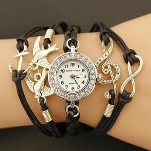 JIANGYUYAN PU Woven Strap Birds GL68 Quartz Movement Bracelet Watch with Lobster Clasp