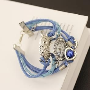 JIANGYUYAN Blue PU Woven Strap Owl GL68 Quartz Movement Bracelet Watch with Lobster Clasp