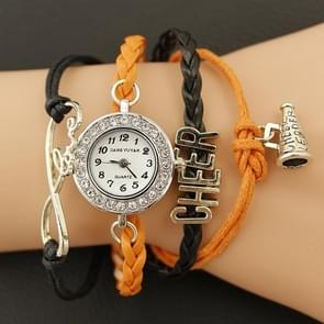 JIANGYUYAN PU Woven Strap Cheers GL68 Quartz Movement Bracelet Watch with Lobster Clasp(Orange)