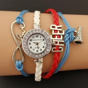 JIANGYUYAN PU Woven Strap Cheers GL68 Quartz Movement Bracelet Watch with Lobster Clasp(Blue)