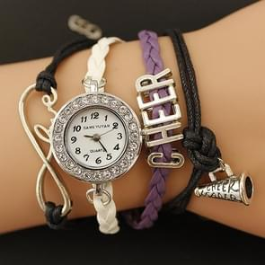JIANGYUYAN PU Woven Strap Cheers GL68 Quartz Movement Bracelet Watch with Lobster Clasp(Purple)