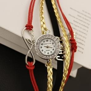 JIANGYUYAN PU Woven Strap Cheers GL68 Quartz Movement Bracelet Watch with Lobster Clasp(Red)