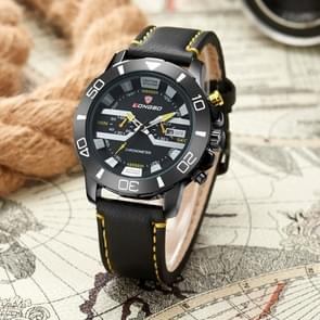 LONGBO Calendar Display Two Decoration Dial Quartz Sport Men Watch with PU Leather Band (Black + Yellow)