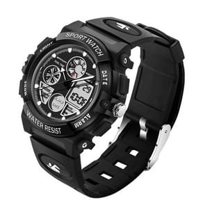 SANDA 4474 Luminous Alarm Function Calendar Display True Seconds Disk Design Multifunctional Sport Men Electronic Watch with Plastic Band(Black)