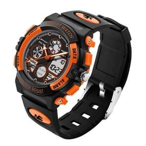 SANDA 4474 lichtgevend Alarm functie kalender weergave ware seconden schijf ontwerp multifunctionele Sport mannen elektronische horloge met kunststof Band(Orange)